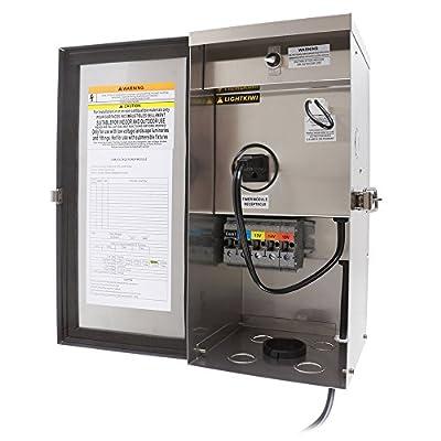 Lightkiwi W9715 300 Watt Heavy-Duty Stainless Steel (12V-13V-14V-15V) Multi-Tap Low Voltage Transformer for Landscape Lighting