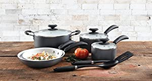 Gibson Home Eco-Friendly Hummington Aluminum Cookware Set Charcoal exteriors with Ceramic Non-Stick Interiors