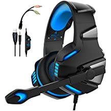 WINTORY V30 Gaming Headset Headphones with Mic Noise Cancelling Over Ear LED Light Bass Stereo Sound Compatible for Xbox One PS4 PC,Laptop, Tablet (Blue)
