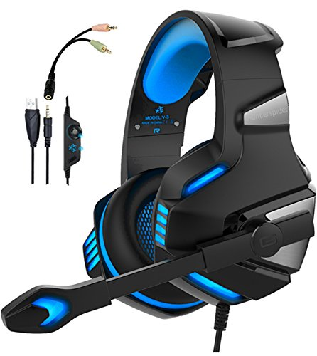 WINTORY V30 Gaming Headset Xbox One PS4 Headphones Mic Noise Cancelling Over Ear LED Light Bass Stereo Sound PC,Laptop, Mac, ()