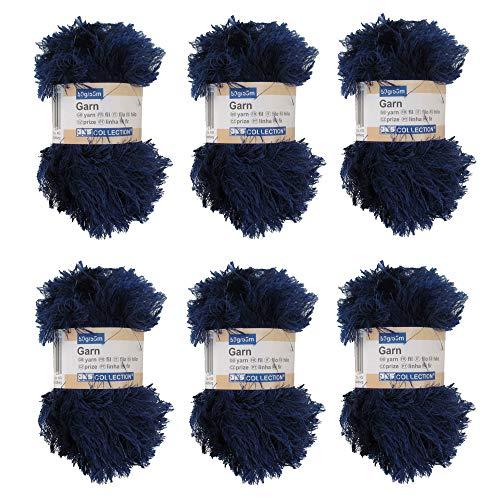 BambooMN JubileeYarn 50g Eyelash Ruffle Fur Yarn, 6 Skeins Midnight Blue (Midnight Blue Knitting Yarn)