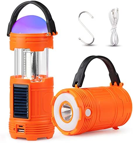 TANSOREN 1 Pack 5 in 1 Solar USB Rechargeable 3 AA Power Brightest COB LED Camping Lantern with S , Charging for Device, Waterproof Collapsible Emergency Flashlight LED Light