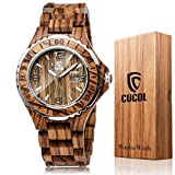 CUCOL Men's Zebra Wooden Watch Analog Quartz Date Display Handmade Round Dial Wood Wrist Watch with Gift Box