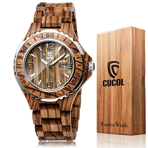 oden Watch, Analog Quartz Date Display Handmade Wood Wrist Watch for Christmas Gift with Box ()