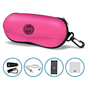 BLUPOND Semi Hard EVA Glasses Case with Hanging Hook 5 IN 1 Set for Sports Sunglasses (Pink)