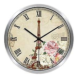 Multi-Clocks Wall Alarm Clock Clocks Paris Tower Rose Mute Quartz Clock Silver B1 14in(35.6cm)