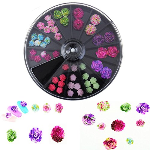 3D Rose Flower Nail Art Charm Beads Colorful Resin Nail Tips Manicure Wheel