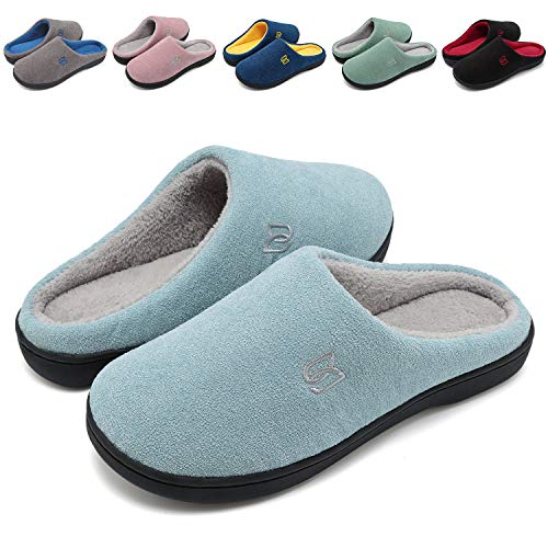 b62f229d7223 Women s Men s Memory Foam Slip On Slippers Comfy Plush Lined House Shoes  Indoor   Outdoor Anti
