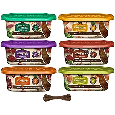 Rachael Ray Nutrish Natural Super Premium Grain Free Wet Dog Food - 6 Flavor Variety Pack, 8 Oz Tubs - Pack of 6, Plus Dog Bone & Eco Friendly Poop Bags (8 Items Total)