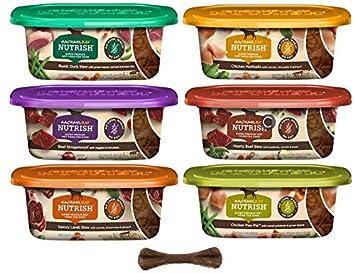 Rachael Ray Nutrish Natural Super Premium Grain Free Wet Dog Food – 6 Flavor Variety Pack, 8 Oz Tubs – Pack of 6, Plus Dog Bone Eco Friendly Poop Bags 8 Items Total