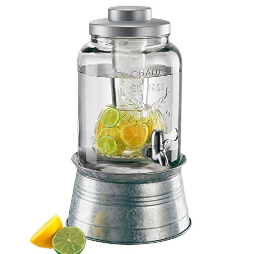 Artland Masonware Beverage Jar 2 Gal W/Chiller & Infuser, Galvanized Stand -
