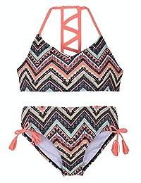 Hilor - Conjunto de Bikini de Dos Piezas para niña, diseño de Rayas