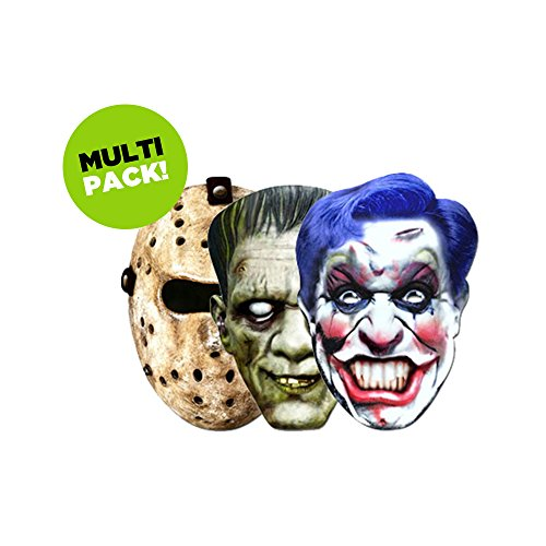 Horror Mask 3 Pack - Hockey, Frankenstein and Clown Masks -