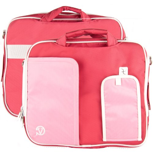 White TRIM PINK Pindar Durable Water-Resistant Nylon Protective Carrying Case Messenger Shoulder Bag For SONY VAIO T Series 13.3-Inch Touchscreen Ultrabook (Laptop Sony Vaio I5 White)