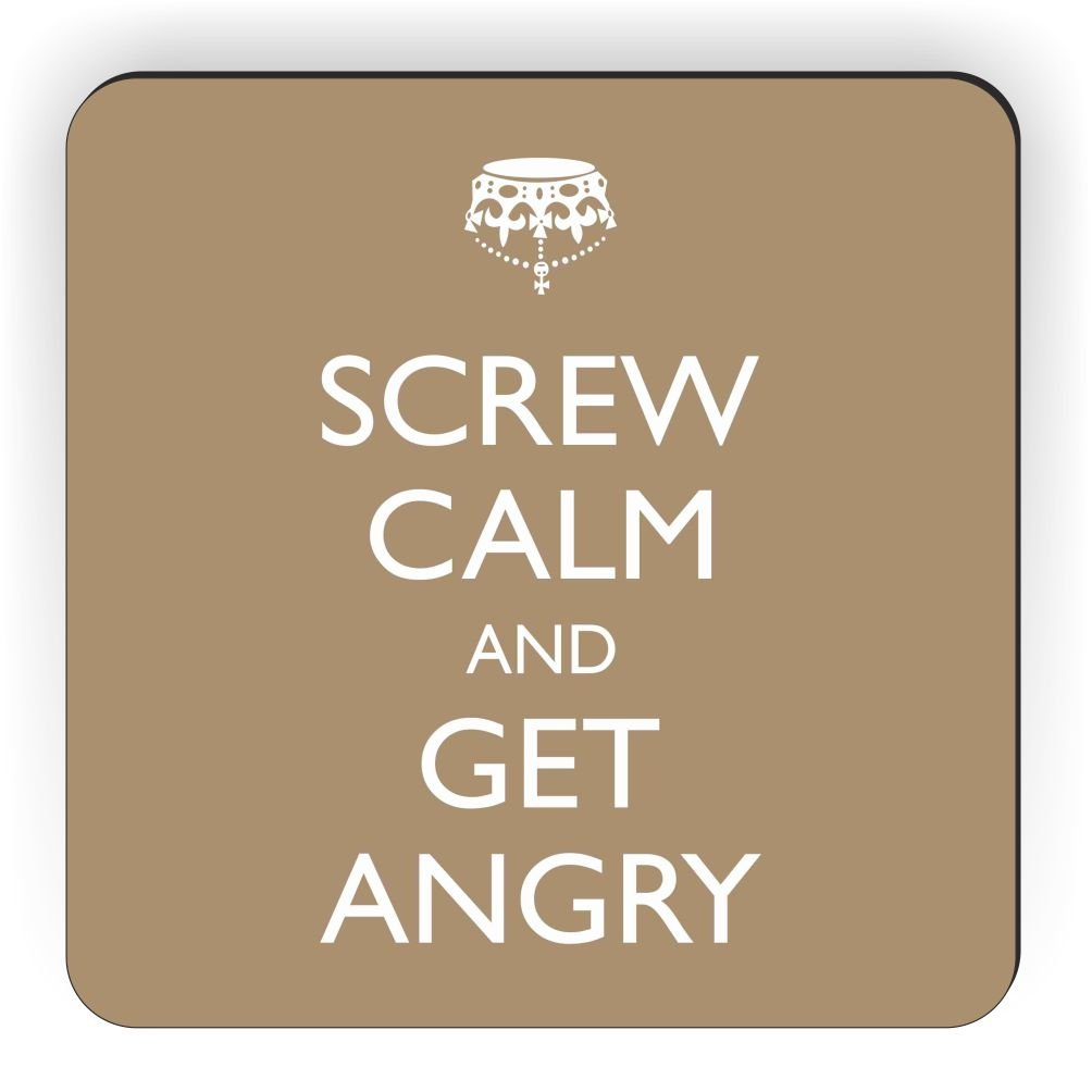 Rikki Knight Screw Calm and Get Angry Brown Color Design Square Fridge Magnet