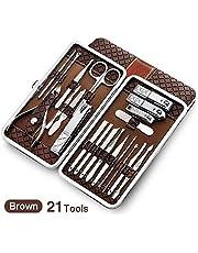 Conjunto de podadoras 21 en 1 acero inoxidable Set de manicura profesional cortaúñas Kit de pedicura uñas de los pies Clipper Box for el cuidado del dedo del dedo del pie ( color : Brown 21 Tools )