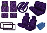 Premium New Style Car Truck Purple Zebra 18pc Low Back Front Seat Covers, Bench Seat Cover with Head Rest, Steering Wheel Cover with Shoulder Pads & 4pc Front & Rear Floor Mats & 2pc Pair License PLates Bonus Detailing WashMitt