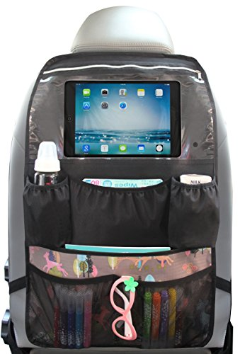 Car Back Seat Organizer with Touch Screen Tablet Holder Pocket up to 10.5