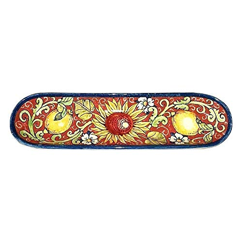 - CERAMICHE D'ARTE PARRINI - Italian Ceramic Serving Appetizer Tray Baguette Flatware Decorative Sunflower Lemons Made in ITALY Tuscan