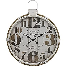 Selectives Decorative Rustic Old Town Round Wall Clock, Large
