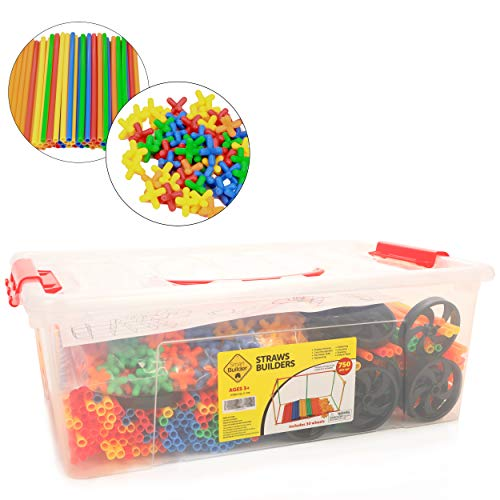 (Smart Builder Toys Straws and Connectors Building and Construction Set, Includes 750 Pcs and Free Storage)