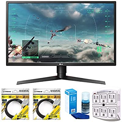 "LG 27"" Class Full HD Gaming Monitor with FreeSync 2018 Model (27GK750F-B) with 2x 6ft High Speed HDMI Cable, Universal Screen Cleaner for LED TVs & SurgePro 750 Joule 6-Outlet Surge Adapter"