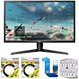 LG 27' Class Full HD Gaming Monitor with FreeSync 2018 Model (27GK750F-B) with 2x 6ft High Speed HDMI Cable, Universal Screen Cleaner for LED TVs & SurgePro 750 Joule 6-Outlet Surge Adapter