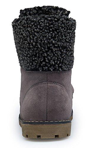 KOUDYEN Bottes Femme Boots Flattie Chaussures Bottines À Lacets Gris MSf5DCLEb