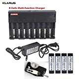 8 Cells Multi-function Charger KLARUS C8 LCD Screen Battery recharger + 4pcs KEEPPOWER 18650 3400mAh rechargeable batteries
