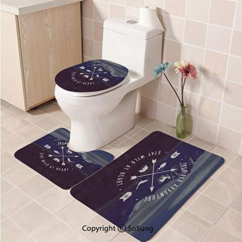 3pcs/Set Cabin Decor Style Soft Comfort Flannel Toilet Mat,Adventure Emblem Outdoor Activity Symbol with Grunge Mountain Landscape Arrows Decorative,Plush Bathroom Decor Mat with Non Slip Backing,MUL -