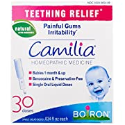 Boiron Camilia, Baby Teething Relief, 30 Doses. Teething Drops for Painful Gums, Irritability. Benzocaine and Preservative-Free, Sterile Single Oral Liquid Doses, Natural Active Ingredient