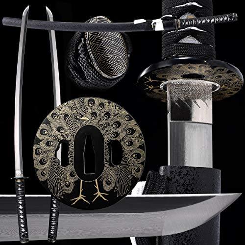 Eroton 1060 1095 Carbon Steel Samurai Katana Functional Hand Forged Handmade Japanese Katana Sword Full Tang (Black 1095 high-Carbon Steel) 2.75ib - Hand Forged Katana