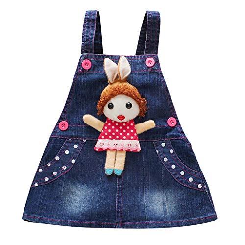 Infant Baby Girl Jumper Dresses ❣ Toddler Kids Strap Sleeveless Vest A Line Denim Dress ❣ Cute Doll Decorate Clothes with Pocket (18-24 Months, Dark Blue)