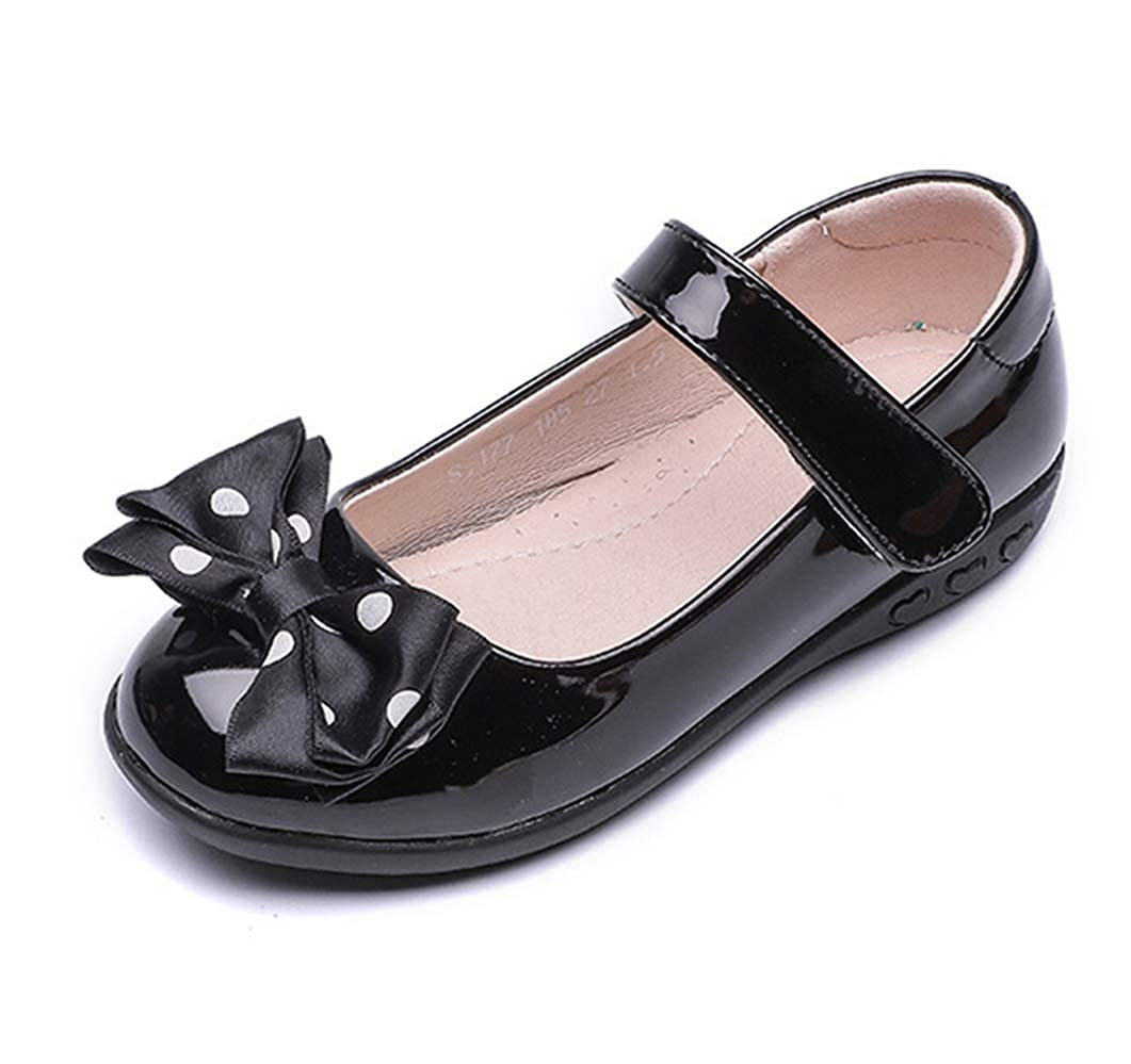 LFHT Girls Patent Leather Black School Uniform Polka Dot Bow Outdoor Dress Mary Jane Flat Shoes Toddler//Little Kid