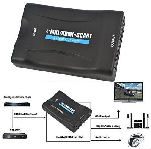WER 1080P HDMI zu Scart Konverter Video Audio Converter HDTV STB VHS XBox PS3 Sky DVD Blu-ray