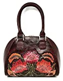 Mauzari Sayulita Designer Alexandria Vintage Floral Artisan Hand Chiseled Hand Painted Leather Handmade Top Handle Cross Body Handbag (Burgundy)