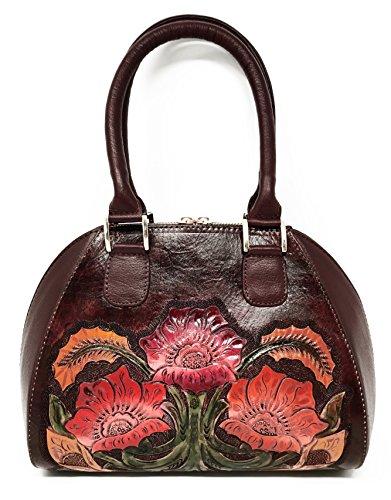 Mauzari Sayulita Designer Alexandria Vintage Floral Artisan Hand Chiseled Hand Painted Leather Handmade Top Handle Cross Body Handbag (Burgundy) by Mauzari Sayulita