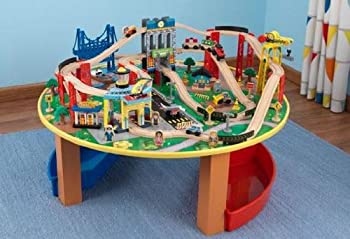Wooden Train Set & Play Table w/ 80 Toy Pieces