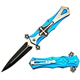 Morpho Diana force Red,Black,Blue Cross Folding Blade Pocket Knife (blue)
