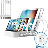 Multi Device USB Charging Station JZBRAIN 5 Port Tablet Charging Dock with Switch for Cell phone (White, 3 Ap & 2 Micro Short Cables Included)