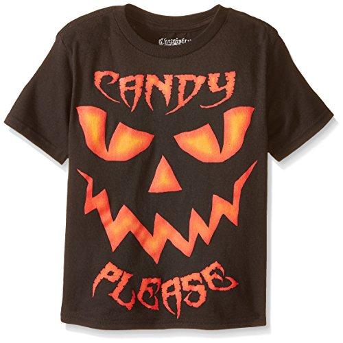 C-Life Group Little Boys' Halloween Candy Please Jack-O-Lantern Tee, Black, 7 (Halloween C)