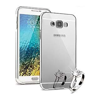 HICASER Duro Híbrido Carcasa para Samsung Galaxy E7 Bumper Case del Metal Aluminio + PC Ultrafina Espejo Efecto Trasero Funda Cover Plata