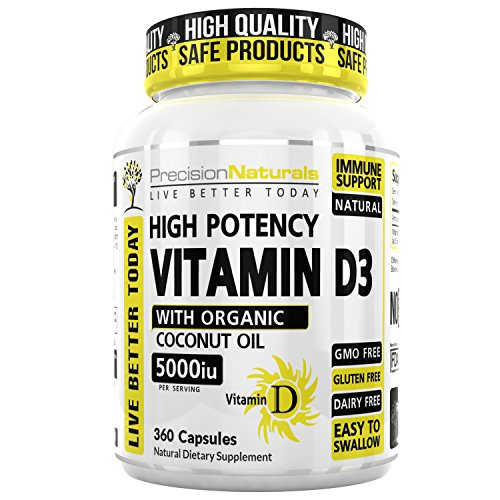 Vitamin D3 5000 IU - 360 Softgels in Cold Pressed Organic Coconut Oil, High Potency, Made in USA, Non GMO, Supports Bone Strength and Immune System Health, Natures Supplement Fast Dissolve - 5000 Iu 360 Softgels