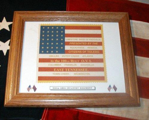 Framed, 34 Star American Civil War Flag.....100th Ohio Infantry