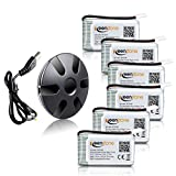 (US) Keenstone 6Pcs 720mAh 20C battery with 6-Port Upgrade Black Charger for Syma X5 X5C X5A X5SW X5C X5C-1 & Cheerson CX-30W Quadcopters, Overcharge protection and Faster Charging Speed