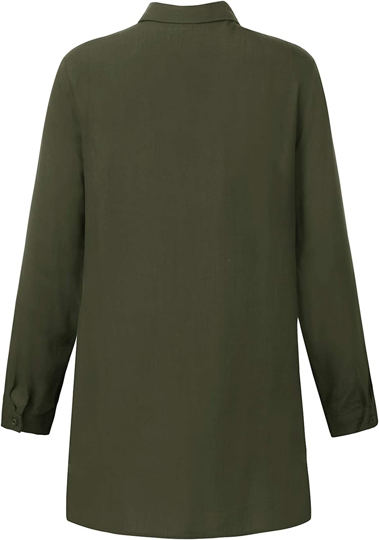 KIDSFORM Womens Casual Tops Loose T Shirt Blouse Long Sleeve Chiffon V Neck Collared Shirts Pockets