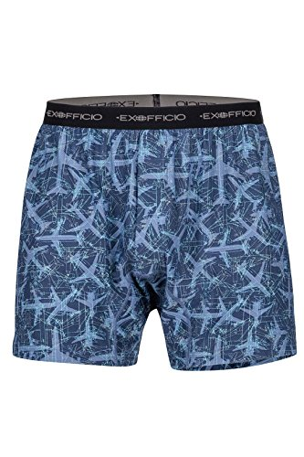 ExOfficio Men's Give-N-Go Print Boxer Shorts, Navy Planes, - Print Boxer Mens