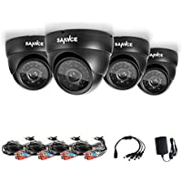 Sannce 4 pack 1.0MP 1/4 color CMOS sensor 720P AHD / 1280TVL Security Camera, IP66 Weatherproof In/Outdoor Fixed CCTV Camera