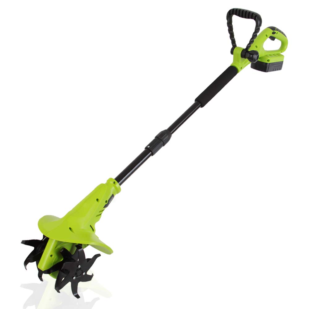 18V Handheld Electric Cordless Tiller - Battery Powered Hand Held Front Tine Soil Cultivator, High Power Gardening Tool Cultivation Machine - Perfect Ground, Garden, Lawn - SereneLife PSLTLL1854
