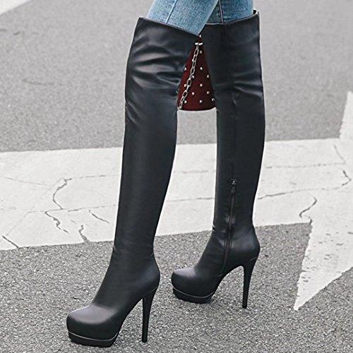 AIYOUMEI Damen Winter Stiletto Plateau Overknee Stiefel mit 13cm Absatz Elegant Modern High Heels Boots sNvrqNkU6B